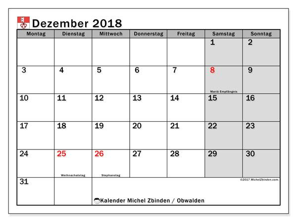 Kalender für Dezember 2018, mit Feiertagen des Kantons Obwalden. Kalender zum kostenlosen ausdrucken.