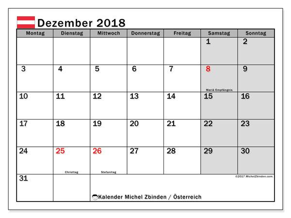Kalender für Dezember 2018, mit Feiertagen in Österreich. Planer zum kostenlosen ausdrucken.
