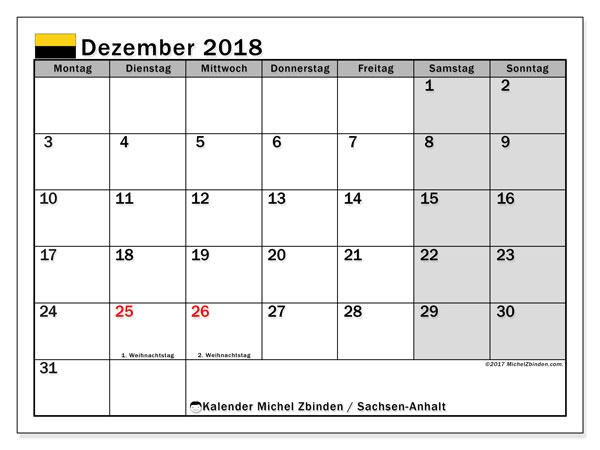 Kalender für Dezember 2018, mit Feiertagen Sachsen-Anhalt. Kalender zum kostenlosen ausdrucken.