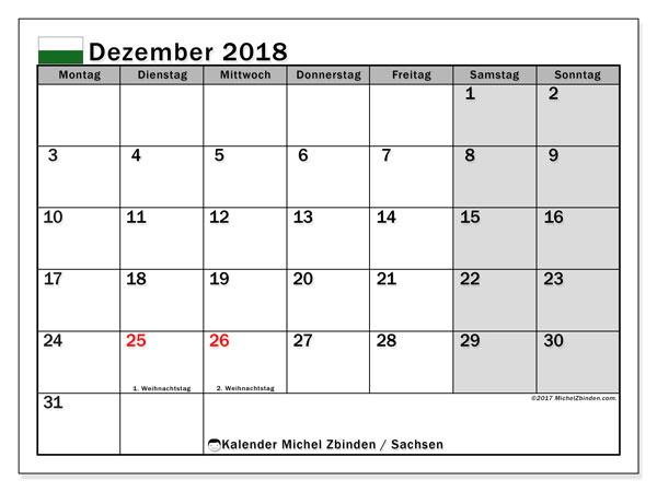 Kalender für Dezember 2018, mit Feiertagen Sachsen. Kalender für den Monat zum kostenlosen Ausdrucken.