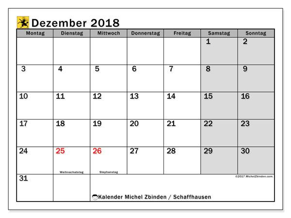 Kalender für Dezember 2018, mit Feiertagen des Kantons Schaffhausen. Monatskalender zum kostenlosen ausdrucken.