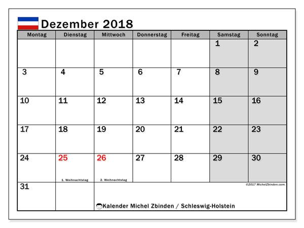 Kalender für Dezember 2018, , mit Feiertagen Schleswig-Holstein. Monatlicher Kalender zum kostenlosen ausdrucken.