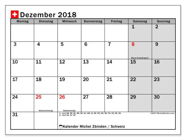 Kalender für Dezember 2018, , mit Feiertagen in der Schweiz. Kalender zum kostenlosen ausdrucken.