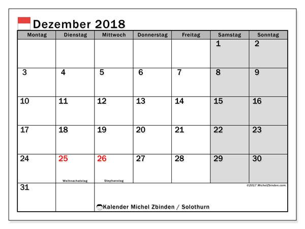 Kalender für Dezember 2018, mit Feiertagen des Kantons Solothurn. Zeitplan zum kostenlosen ausdrucken.