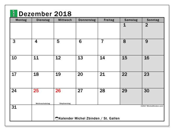 Kalender für Dezember 2018, mit Feiertagen des Kantons St. Gallen. Monatlicher Kalender zum kostenlosen ausdrucken.