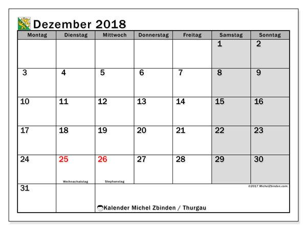 Kalender für Dezember 2018, mit Feiertagen des Kantons Thurgau. Kostenloser Kalender zum ausdrucken.