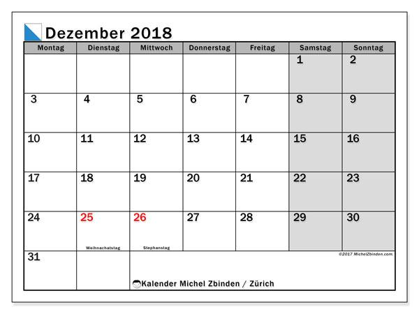 Kalender für Dezember 2018, mit Feiertagen des Kantons Zürich. Monatlicher Kalender zum kostenlosen ausdrucken.