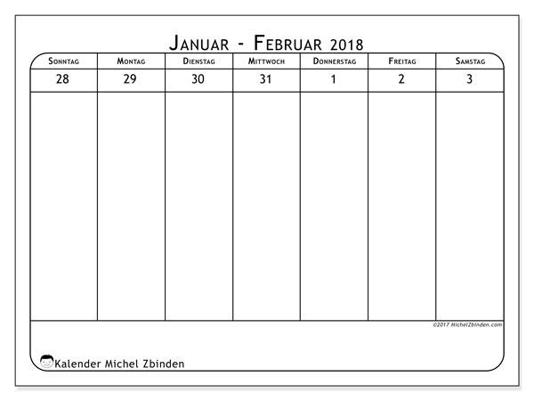 Kalender Februar 2018 (43-1SS). Kostenlos ausdruckbare Planer.