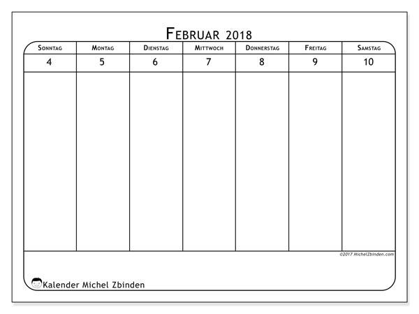 Kalender Februar 2018 (43-2SS). Zeitplan zum kostenlosen ausdrucken.