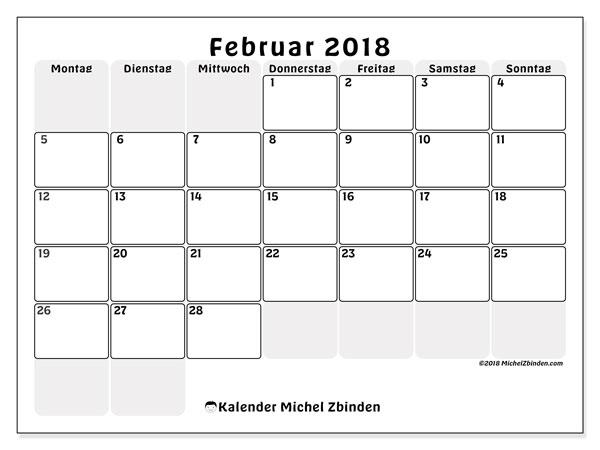 Kalender Februar 2018 (44MS). Kostenloser Zeitplan zum ausdrucken.