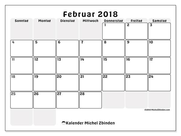 Kalender Februar 2018 (44SS). Zeitplan zum kostenlosen ausdrucken.
