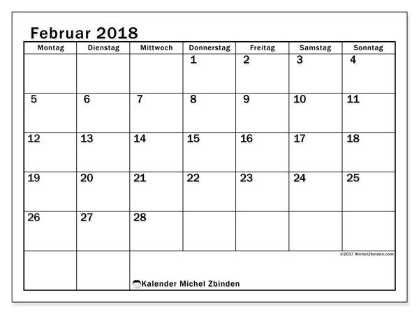 Kalender Februar 2018 (50MS). Monatlicher Zeitplan zum kostenlosen ausdrucken.
