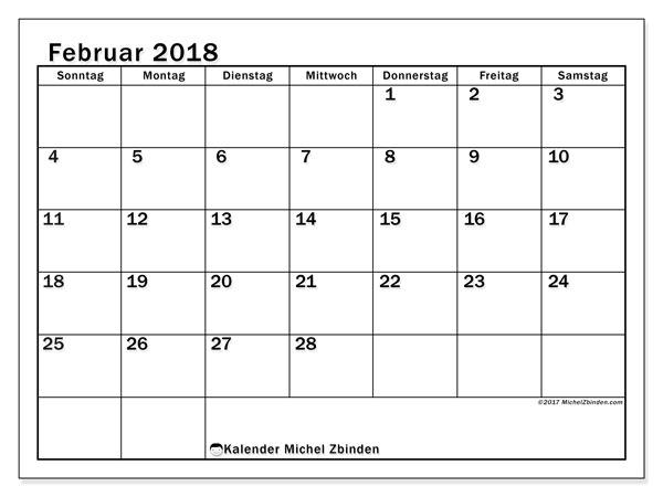 Kalender Februar 2018 (50SS). Monatlicher Zeitplan zum kostenlosen ausdrucken.