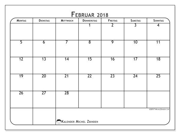 Kalender Februar 2018 (51MS). Kostenlos ausdruckbare Kalender.