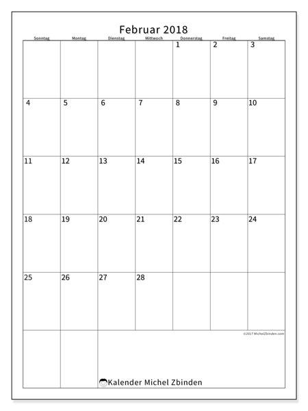 Kalender Februar 2018 (52SS). Monatskalender zum kostenlosen ausdrucken.
