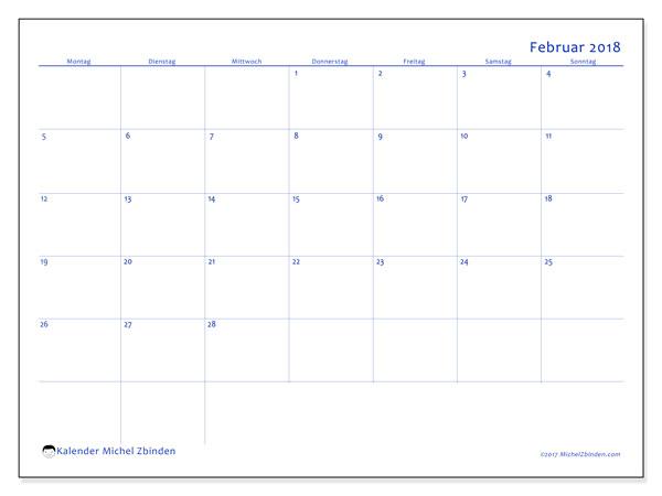 Kalender Februar 2018 (55MS). Kostenlos ausdruckbare Zeitplan.