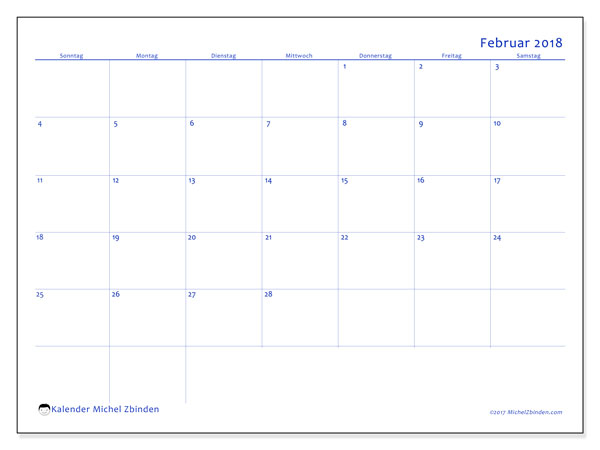 Kalender Februar 2018 (55SS). Kostenlos ausdruckbare Zeitplan.
