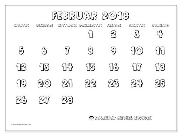 Kalender Februar 2018 (56MS). Monatlicher Kalender zum kostenlosen ausdrucken.