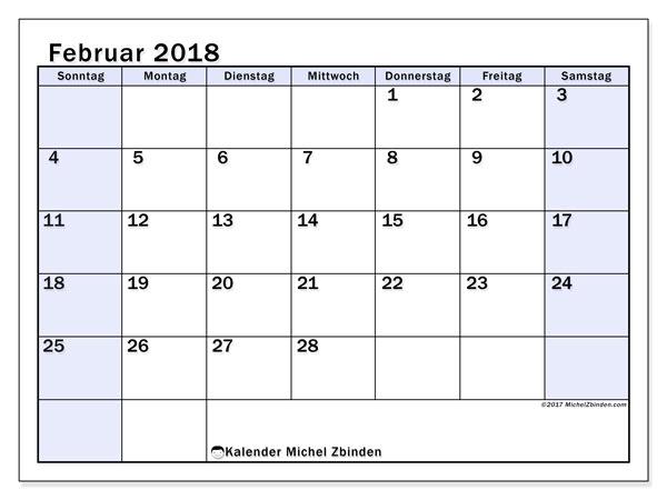 Kalender Februar 2018 (57SS). Kalender zum kostenlosen ausdrucken.