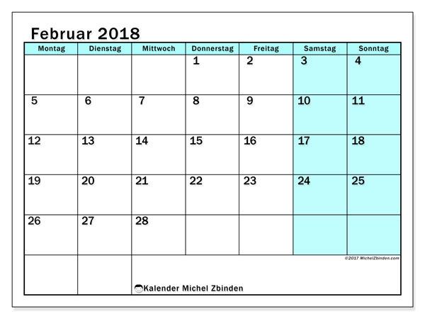 Kalender Februar 2018 (59MS). Monatlicher Kalender zum kostenlosen ausdrucken.