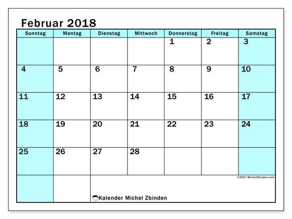 Kalender Februar 2018 (59SS). Monatskalender zum kostenlosen ausdrucken.
