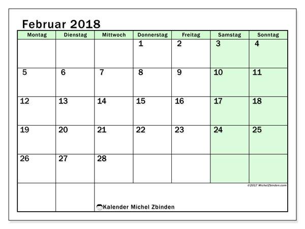 Kalender Februar 2018 (60MS). Planer zum kostenlosen ausdrucken.