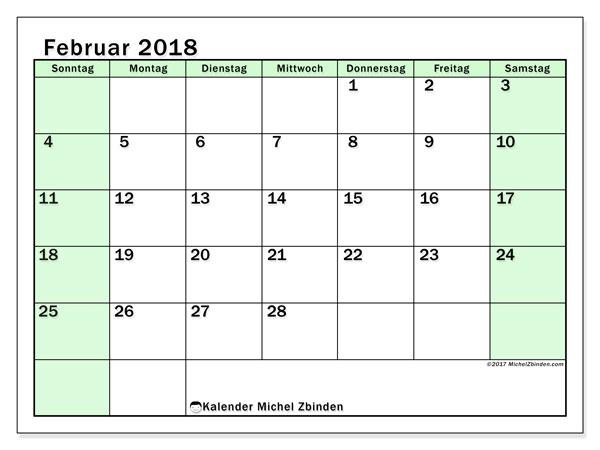 Kalender Februar 2018 (60SS). Kostenloser Zeitplan zum ausdrucken.