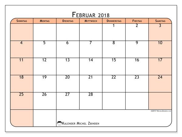 Kalender Februar 2018 (61SS). Monatlicher Zeitplan zum kostenlosen ausdrucken.