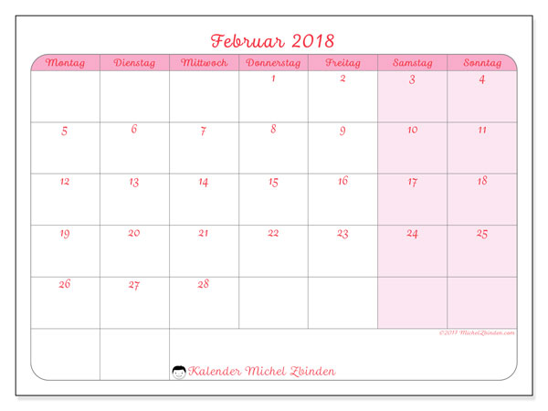 Kalender Februar 2018 (63MS). Zeitplan zum kostenlosen ausdrucken.
