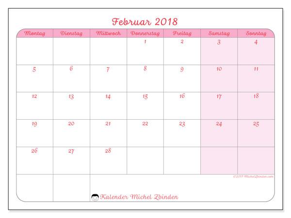 Kalender Februar 2018 (63MS). Kostenlos ausdruckbare Zeitplan.
