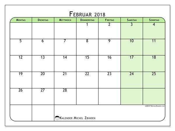 Kalender Februar 2018 (65MS). Kostenlos ausdruckbare Kalender.