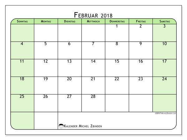 Kalender Februar 2018 (65SS). Kalender zum kostenlosen ausdrucken.