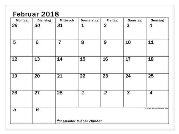 Kalender Februar 2018 (66MS). Kalender zum kostenlosen ausdrucken.