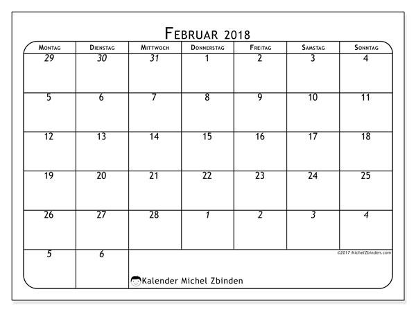 Kalender Februar 2018 (67MS). Kalender zum kostenlosen ausdrucken.