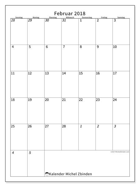 Kalender Februar 2018 (68SS). Monatskalender zum kostenlosen ausdrucken.