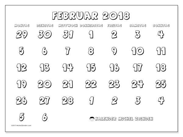 Kalender Februar 2018 (71MS). Monatskalender zum kostenlosen ausdrucken.