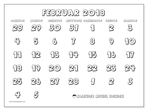 Kalender Februar 2018 (71SS). Kostenloser Kalender zum ausdrucken.