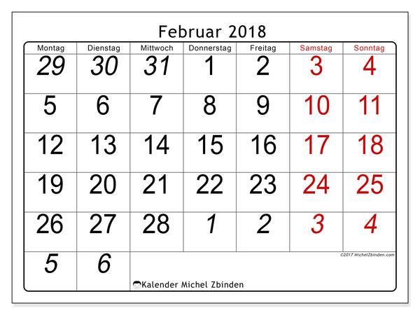 Kalender Februar 2018 (72MS). Monatlicher Zeitplan zum kostenlosen ausdrucken.