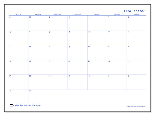 Kalender Februar 2018 (73MS). Zeitplan zum kostenlosen ausdrucken.