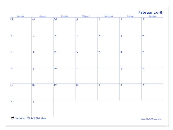 Kalender Februar 2018 (73SS). Monatskalender zum kostenlosen ausdrucken.