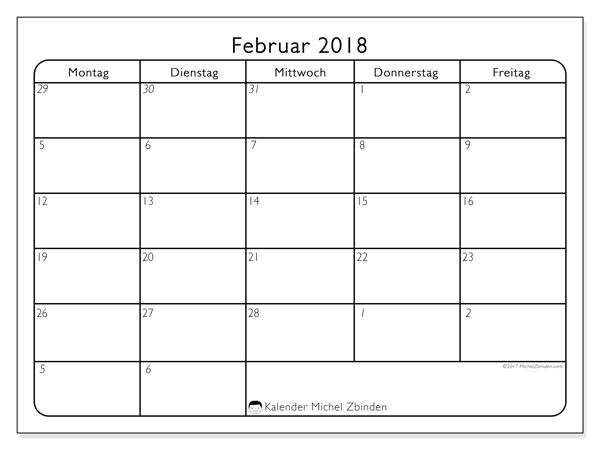 Kalender Februar 2018 (74MF). Kostenloser Planer zum ausdrucken.