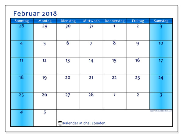 Kalender Februar 2018 (75SS). Monatskalender zum kostenlosen ausdrucken.