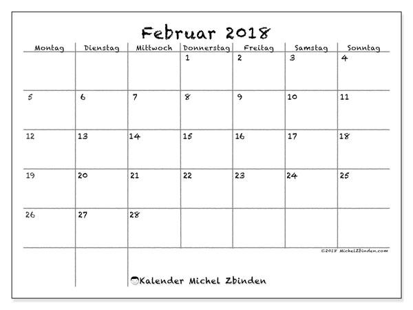 Kalender Februar 2018 (77MS). Planer zum kostenlosen ausdrucken.