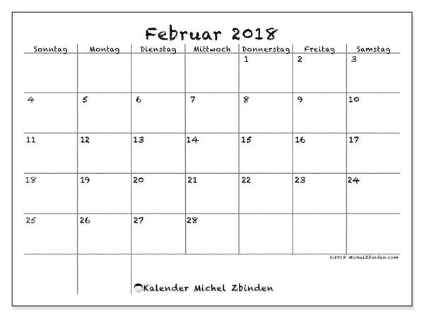 Kalender Februar 2018 (77SS). Kalender für den Monat zum kostenlosen Ausdrucken.