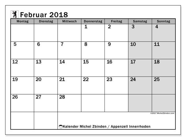Kalender für Februar 2018, , mit Feiertagen des Kantons Apenzell Innerrhoden. Kalender für den Monat zum kostenlosen Ausdrucken.
