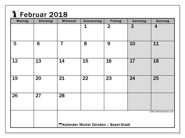 Kalender für Februar 2018, mit Feiertagen des Kantons Basel Stadt. Kostenlos ausdruckbare Zeitplan.