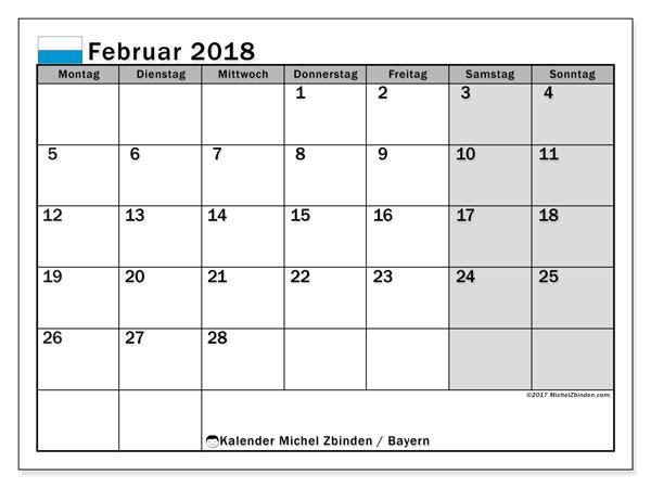 Kalender für Februar 2018, , mit Feiertagen Bayern. Kostenloser Planer zum ausdrucken.