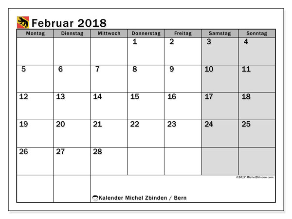 Kalender für Februar 2018, mit Feiertagen des Kantons Bern. Monatskalender zum kostenlosen ausdrucken.