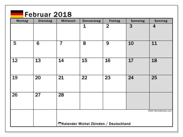 Kalender für Februar 2018, mit Feiertagen Deutschland. Kostenlos ausdruckbare Kalender.
