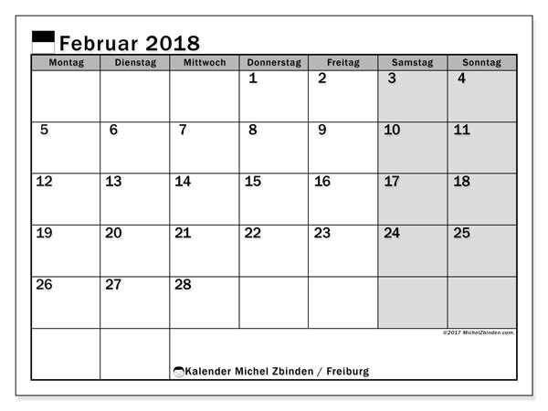Kalender für Februar 2018, , mit Feiertagen des Kantons Freiburg. Monatlicher Zeitplan zum kostenlosen ausdrucken.